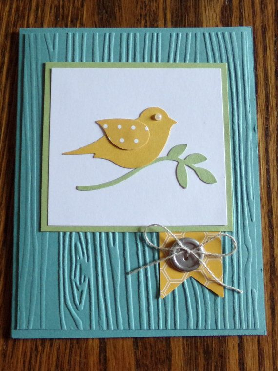Sweet and simple all occasion card made with Bird Builder Punch and Woodgrain Textured Impressions Embossing Folder from Stampin' Up!