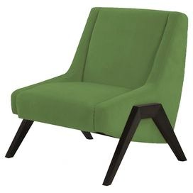 """Green accent chair with a wenge wood base.   Product: ChairConstruction Material: Wood and fabricColor: AppleFeatures: No sag springsDimensions: 36"""" H x 31.5"""" W x 33.5"""" D"""