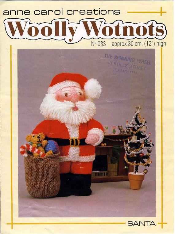 WOOLLY WOTNOTS Santa Toy Knitting Pattern. by PatternaliaVintage
