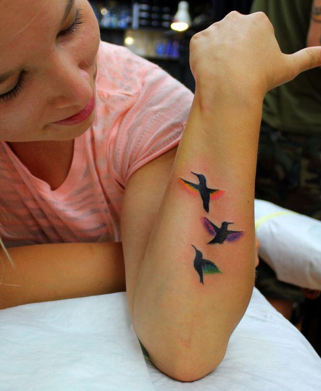 watercolour hummingbird tattoo- pretty, would like maybe just one bird on the wrist?