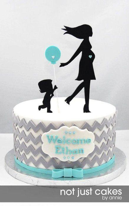 Chevron and Balloon Baby Shower Cake