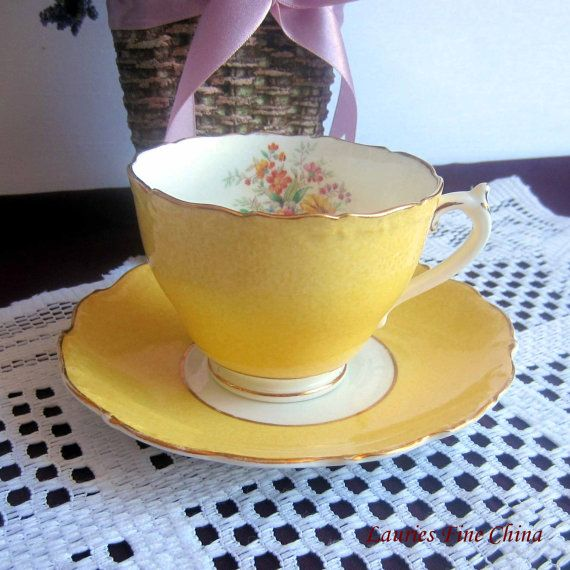 Coalport Un-Named Yellow with spray of Flowers inside Bone China Tea Cup and Saucer - Made in England