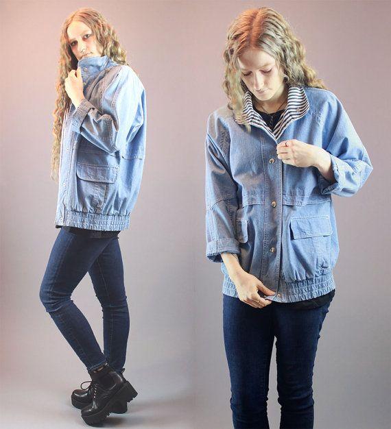 Vintage 80s Jean Jacket Denim Striped by BadassVintageRevival