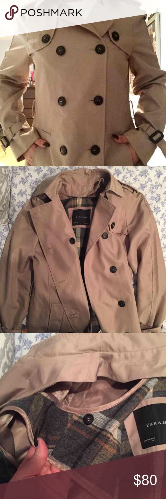 """Zara double breasted trench coat Never worn. Brand new. It's also a waterproof trench coat with detachable vest inside to make it a more heavier jacket. (I'm 5'2"""") Zara Jackets & Coats Trench Coats"""