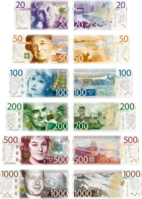 New swedish design on bank notes