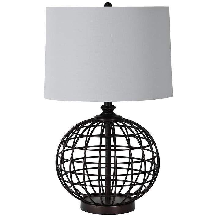 Sterlington Black Open Globe Cage Table Lamp 80x29 Lamps Plus In 2021 Cage Table Lamp Lamp Cage Table