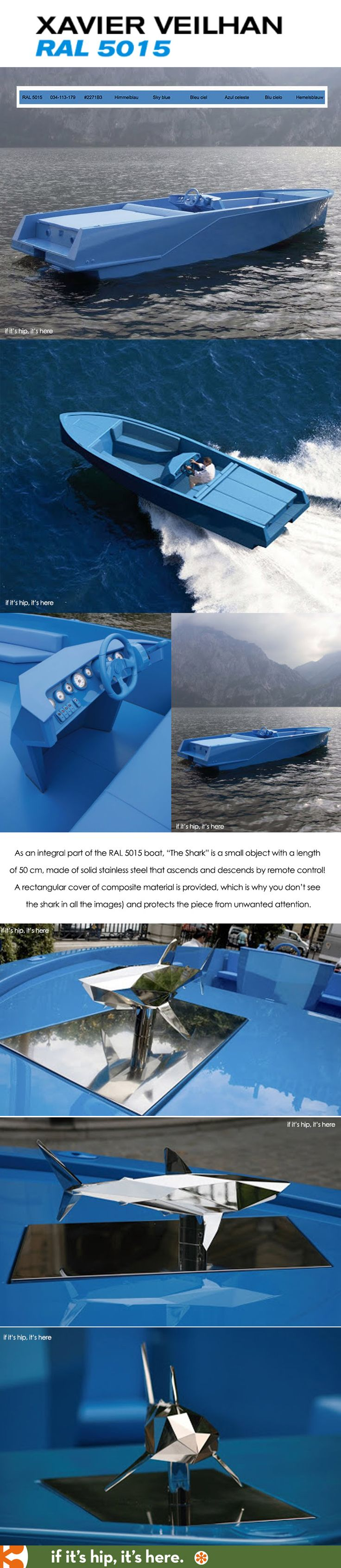 the ral 5015 motor boat by artist xavier veilhan is named after its color and has