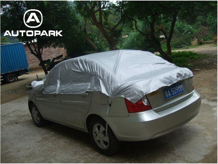 Universal Car Cover Prevent Heat Cold Sun Rain Snow Half Auto Cover for Sedan SUV Pickup PVC Coating Cover M L XL Optional