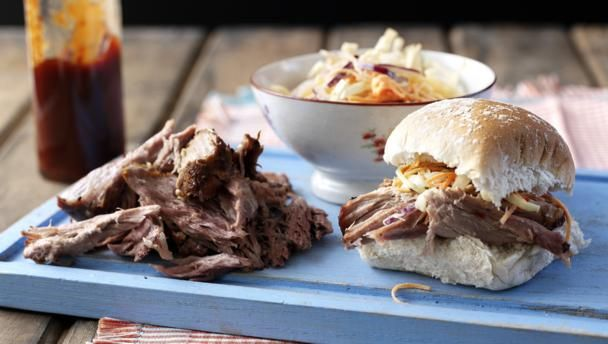 Pulled pork with spicy coleslaw        Pile this slow-cooked, melt-in-the-mouth pork onto bread rolls for the ultimate sandwich.
