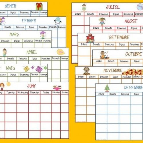 CALENDARIS GRATIS. Tot l'any en CALENDARIS en DIN A 3 Llestos per imprimir!