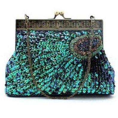 Bling Luxury Peacock Handmade Evening Handbag Wedding Party Purse Wallet Clutch