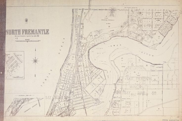 NORTH FREMANTLE Cadastral map showing land use and zoning. Relief shown by hachures. Includes enlargement of area showing Bay Road and Alfred Road and inset of North Wharf. Part of collection: Townsite maps, Western Australia. https://encore.slwa.wa.gov.au/iii/encore/record/C__Rb1889813