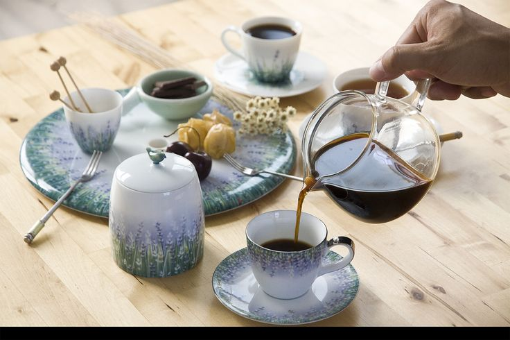 Morning coffee with our beautiful #Lavender set,  Espresso cup and Sugar-Bowl hand-thrown from the purest white Jingdezhen porcelain then hand-painted by our team of dedicated artists and finally gilded in the purest platinum  Tea-ware coffee-ware Sugar Bowl Espresso cupby Spherebol tea-pot handthrown handpainted