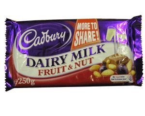 Cadbury Fruit and Nut Bar...yummy deliciousness!