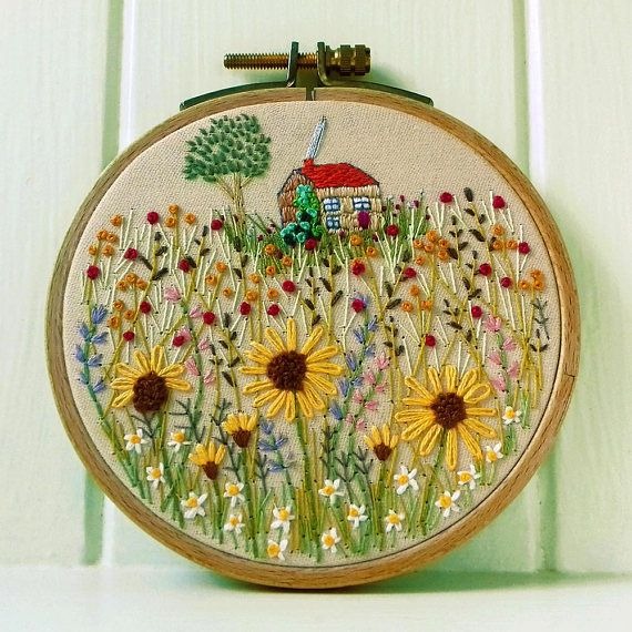 A Cosy Cottage  Embroidery Hoop Art  Pretty