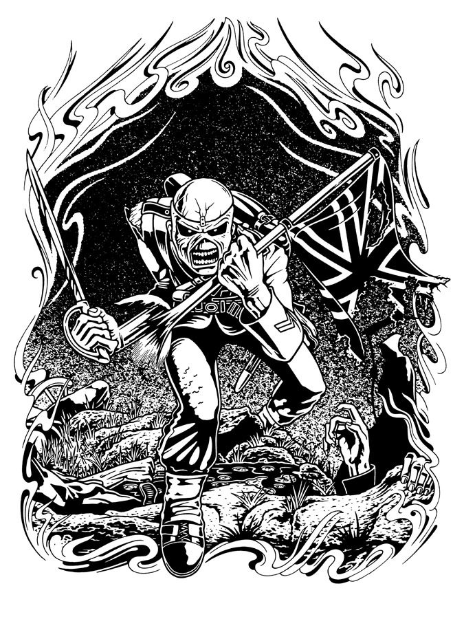 Original Giant Content Homage To The Trooper By Derek Riggs For Iron Iron Maiden Tattoo Iron Maiden Posters Iron Maiden