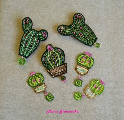 handmade cacti brooches by Anna Gnieciecka
