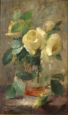 Frans Mortelmans - Roses blanches dans un vase   -- beautiful
