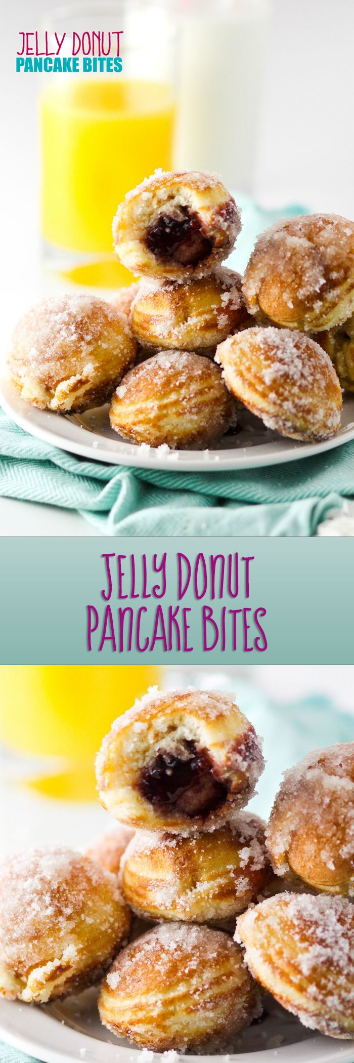 Jelly Donut Pancake Bites transform basic pancake batter into a delicious and memorable breakfast. We love these so much!