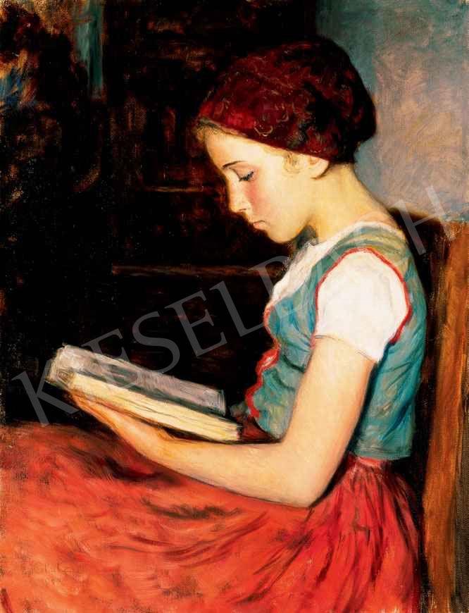 Glatz Oszkár - Piroskendős olvasó lány | 29. Aukció aukció / 174 tétel