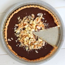 Chocolate, Coconut & Macadamia Tart. Gluten free, paleo, vegan and refined sugar free (uses maple syrup)