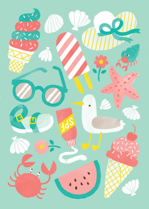A set of summer-inspired patterns. What does summer mean to you? For me, I relate all of these foods with a few of the best months of the year.
