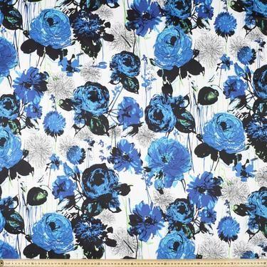 No. 2 Printed Cotton Sateen Fabric Blue 127 cm
