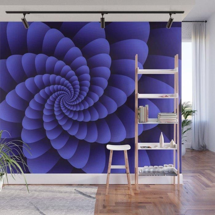 Solid Color Removable Wallpaper For An Accent Wall: Nautilus Purple Swirl Digital Wall Art
