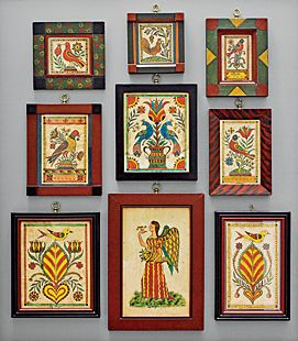 Collection of miniature watercolors on paper by David Ellinger (1913–2003), an antiques dealer and artist who painted theorems and fraktur inspired by 19th-century Pennsylvania German examples.
