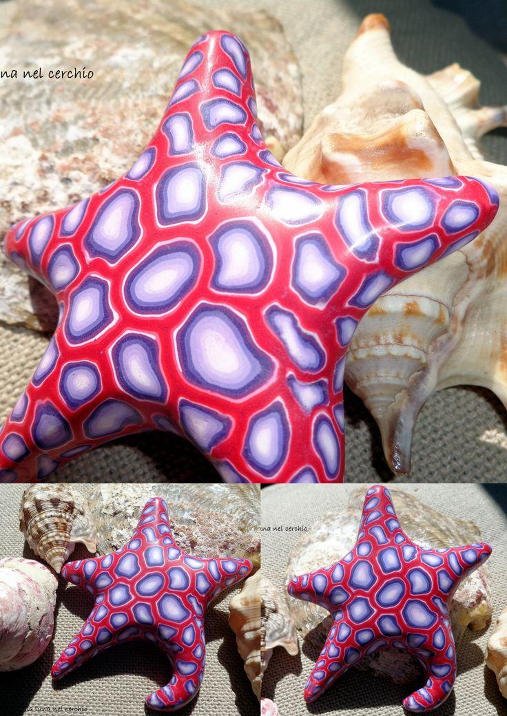 RED+PURPLE Starfish. lavoro realizzato per il Progetto Colori del gruppo Polymer Clay Italia, mese di maggio.