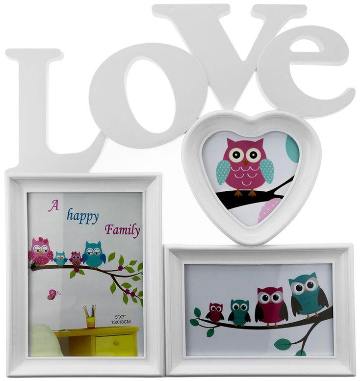 Porta Retratos Con Palabra Love 3 Fotos Corazon Blanco H4072 - $ 149.00 en MercadoLibre