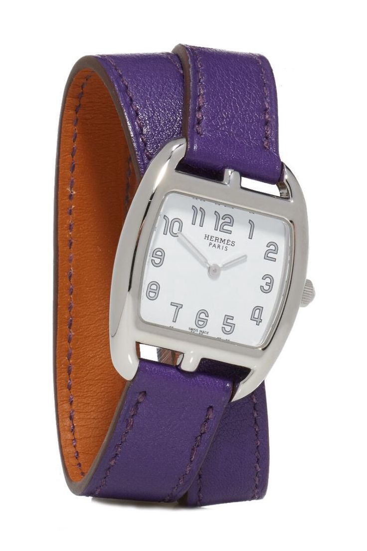 WHAT GOES AROUND COMES AROUND Purple Cape Code Tonneau Double Tour Watch - Hermès. #whatgoesaroundcomesaround #cloth #