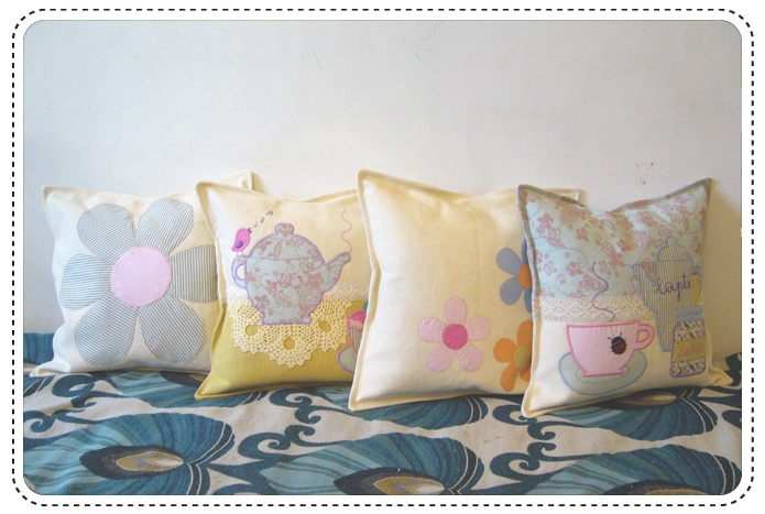Lovely vintage tea party inspired custome made cushions for a lovely home.  http://buburuze.wordpress.com