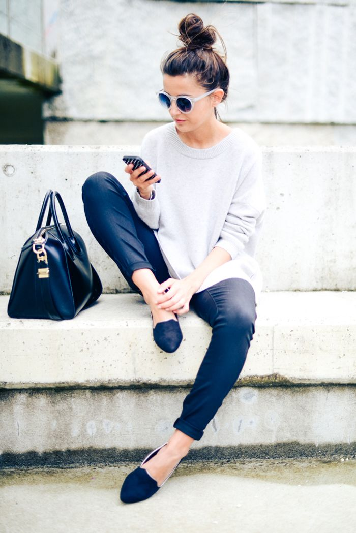 <3 Simple Outfit with black Pants and Loafers plus grey Sweater