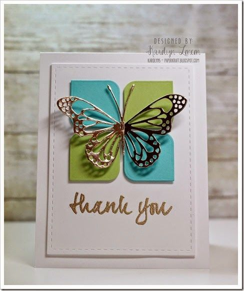 Used dies from the Avery Elle Rounded Diamonds Elle-Ments set, Lunette butterfly from Memory Box, and the sentiment from Avery Elle Many Thanks stamp set. Love this card!