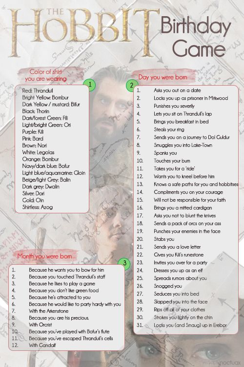 The Hobbit Birthday Game~ I got~ Thranduil rips off your clothes because he wants to party hardy with you! What's yours?  (via http://noctuax.tumblr.com)