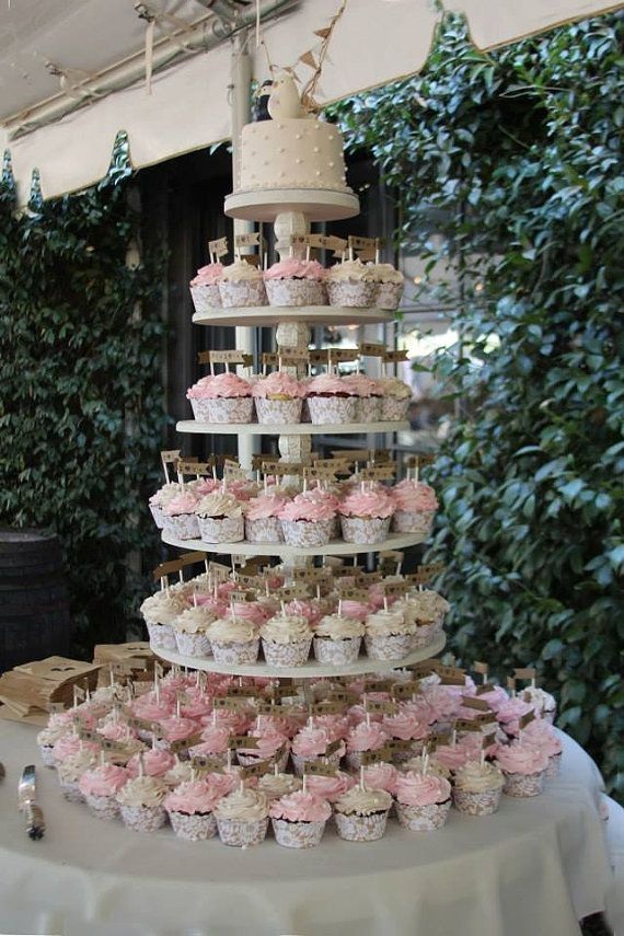 Cupcake Stand Cupcake Tower White Cupcake by YourDivineAffair