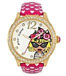 Betsey Johnson Betsey Roses Emoji Motif Dial Leather Strap Watch