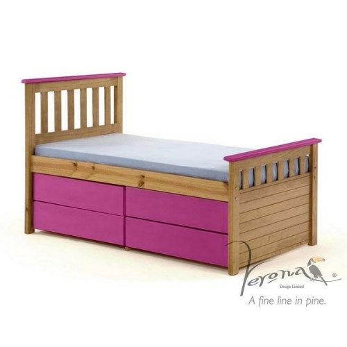 Verona Design Ferra Captain's Single Storage Bed with 4 Drawers in Antique Pine and Fuchsia (Short)