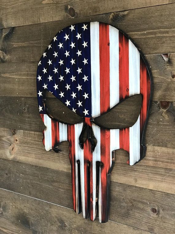 Punisher Flag Traditional Wooden Punisher Flag Wood Etsy Rustic American Flag American Flag Wall Art Wooden American Flag