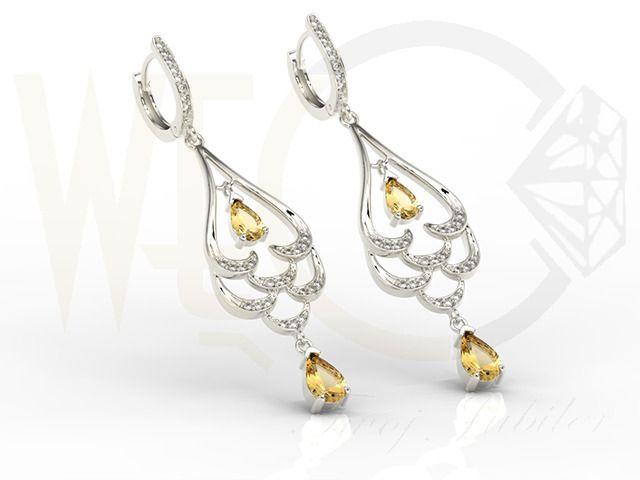 Piękne kolczyki z białego złota  z cyrkoniami i cytrynami/ Beautiful earrings made form white gold with zircons/ 2 151 PLN #earrings #jewellery #gift