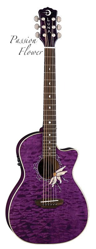 Stunning purple Passion Flower acoustic electric by Luna Guitars. My favorite color!