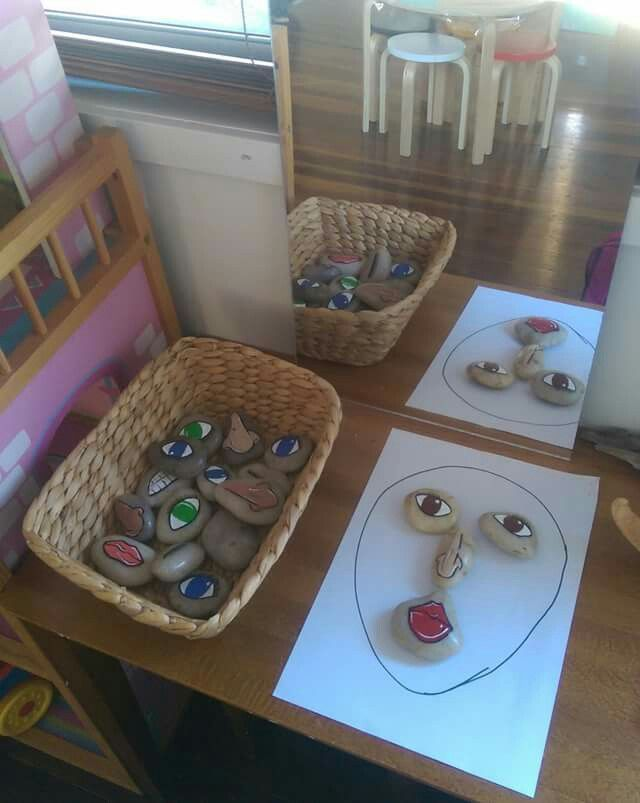 Stone faces- help children to recreate emotions and different faces with stones and the mirror (pre school/p1)
