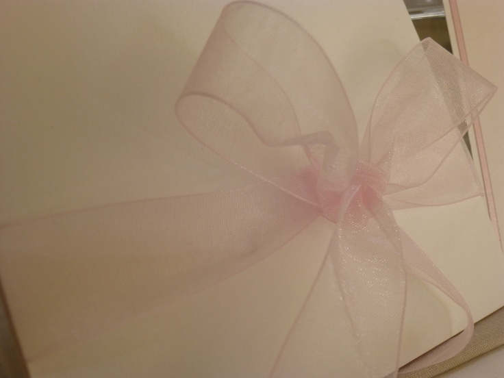 Soft Pink invite with sheer ribbom