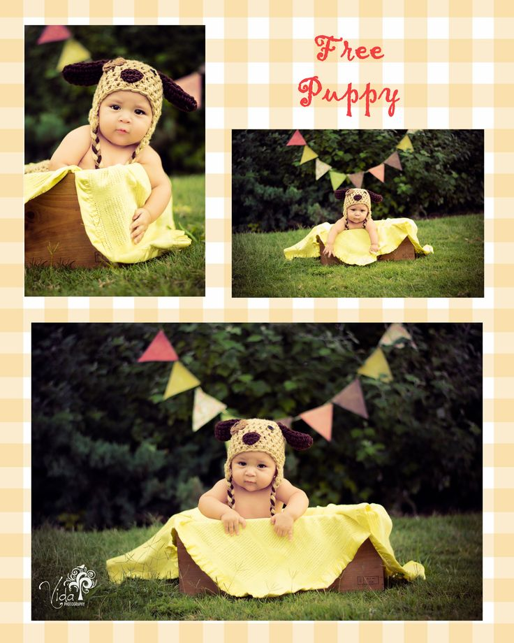 7 Month-Outdoor Baby Photography -Crochet Puppy Hat-Photoshop...my son Lucas-by Rosanna Castillo
