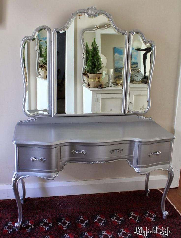Midcentury Silver Tri Fold Mirrored Vanity Table With Three Drawer As  Inspiring Antique Dresser With
