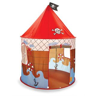 Recommended Age: 3-7 years old Ahoy Matey! Kids will have a blast playing with this pirated den playhouse. Easy to assemble pirates den is generously sized to fit 2 or more little pirates. Flap front