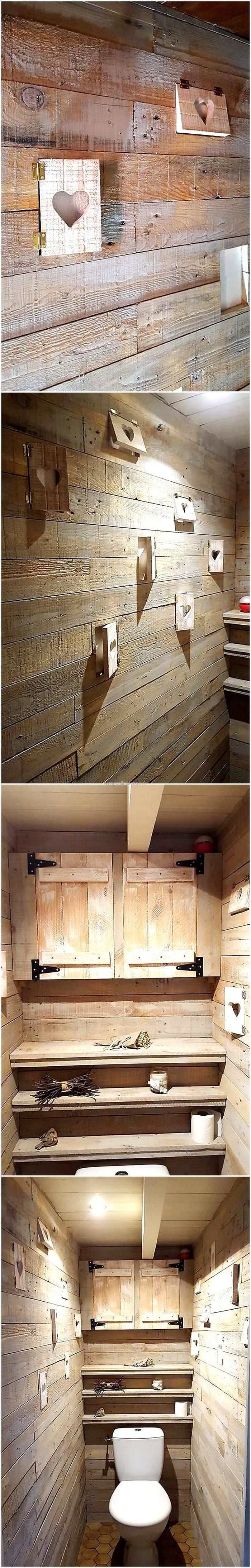 224 best pallet wall art images on pinterest for Pallet shower wall