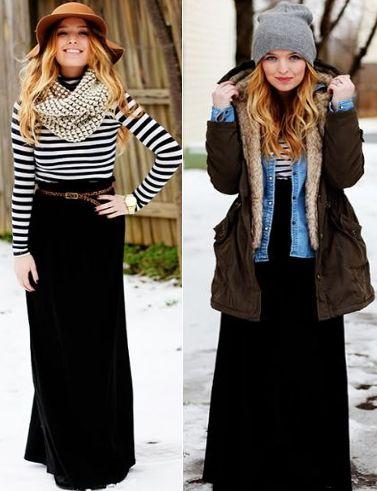 combinar falda larga invierno