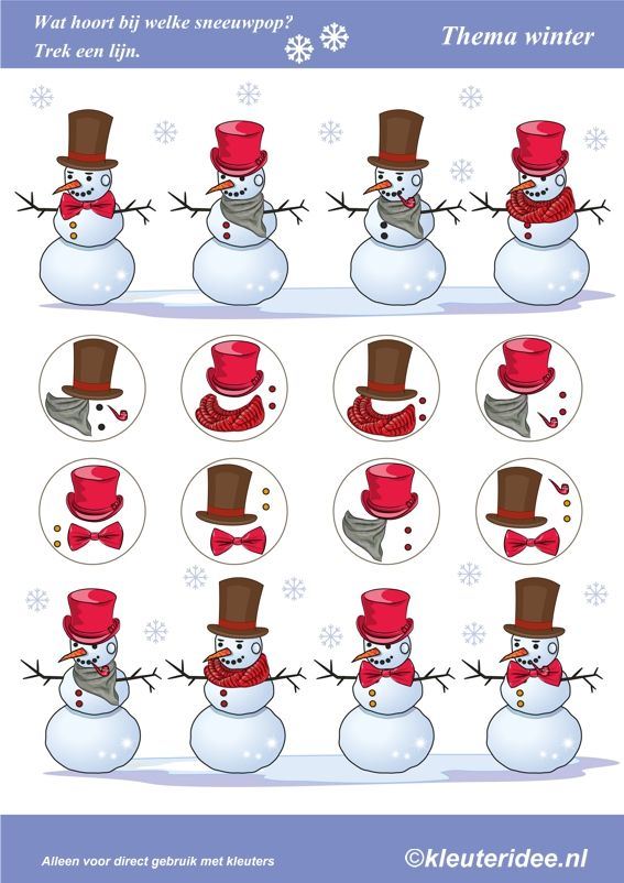 Wat hoort bij welke sneeuwpop, thema winter voor kleuters, What belongs to the snowman, Preschool winter theme, free printable.